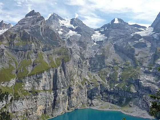 Amazing sheer walls along the flanks of the peaks ringing the Oeschinensee
