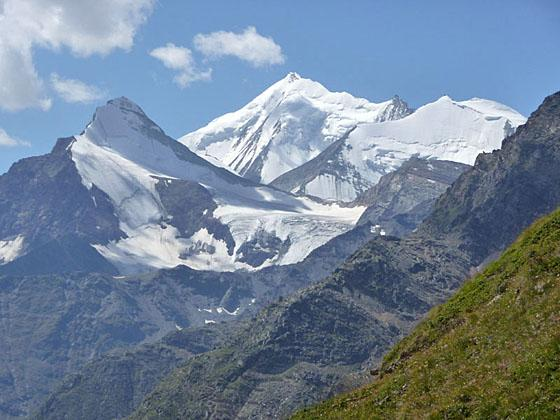 Close-up of the Weisshorn, Bishorn and Brunegghorn