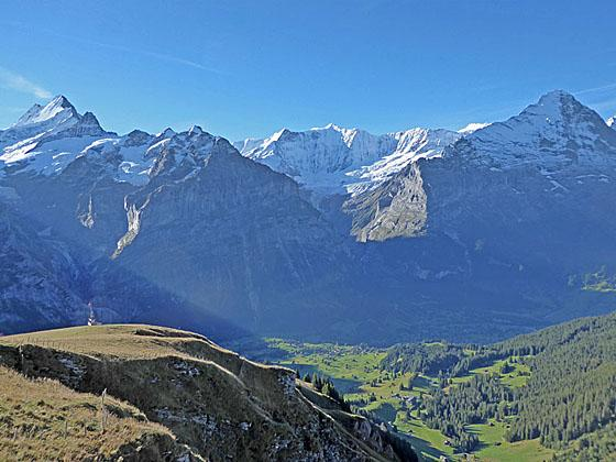 The Schreckhorn, Finsteraarhorn, Fiescherhorn massif and the Eiger