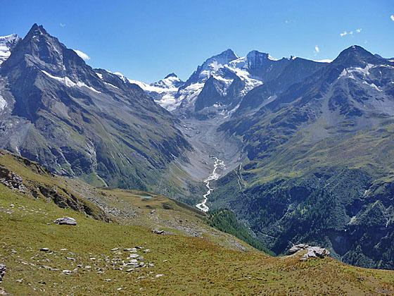 Besso, Pointe de Zinal, Dent Blanche, Grand Cornier and Pigne de la Le from Roc de la Vache