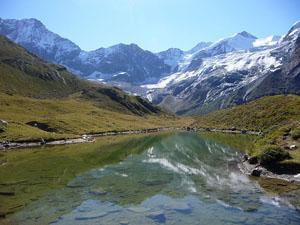 From Lac d Arpitetta, the Weisshorn, Schalihorn, Pointe Sud de Moming and the Zinalrothorn