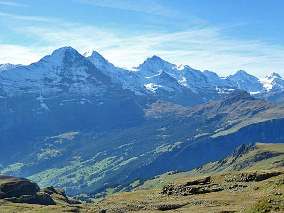 Views of the Bernese Alps from the hike to Schynige Platte