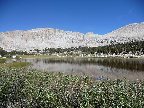 Shallow tarn, framed by Mt. Langley, on the way to Cottonwood Lake #3