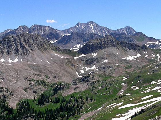 Snowmass Mtn and Hagerman Peak from Avalanche Pass