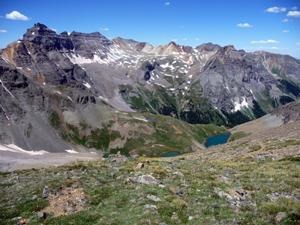 Looking north from Blue Lakes pass to Mt. Dallas and the range rising above the lakes basin