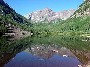 Classic view of the Maroon Bells from Maroon Lake