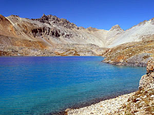 Columbine Lake, a turquoise jewel, is tucked in a stunning glacial bowl