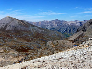 Panoramic view from the pass to the northwest of Mt Sneffels and the Lewis Mill
