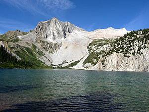 Snowmass Peak, Hagerman Peak and Snowmass Mountain from the northeast shore of Snowmass Lake