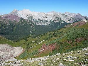 Great view to the west of Hagerman Peak, Snowmass Mountain and Capitol Peak from Buckskin Pass