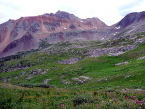 The high alpine meadows provide great views of Vermillion Peak (13,894)