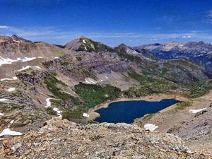 View of Blue Lake from the ridge crest west of Porphyry Lake