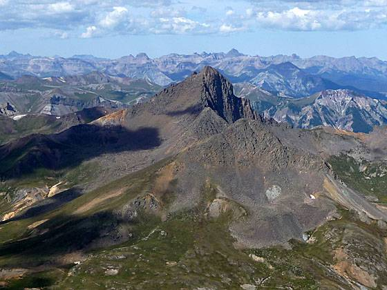 View looking west from the summit of Uncompahgre Peak