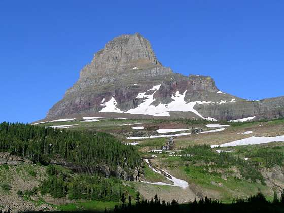 Looking back at Clements Mountain (8,760-ft.) towering above the Logan Pass area