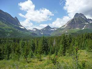 Mt. Grinnell (8,851-ft.), Switfcurrent Mountain (8,436-ft.) and Mt. Wilbur (9,321-ft.) rise above the beautiful Swiftcurrent Valley
