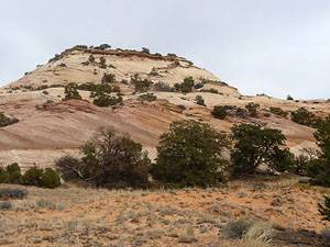 Looking back at the east side of Aztec Butte.  The trail steep trail can be seen climbing up.