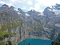 Great views of the peaks forming the cirque above the Oeschinensee